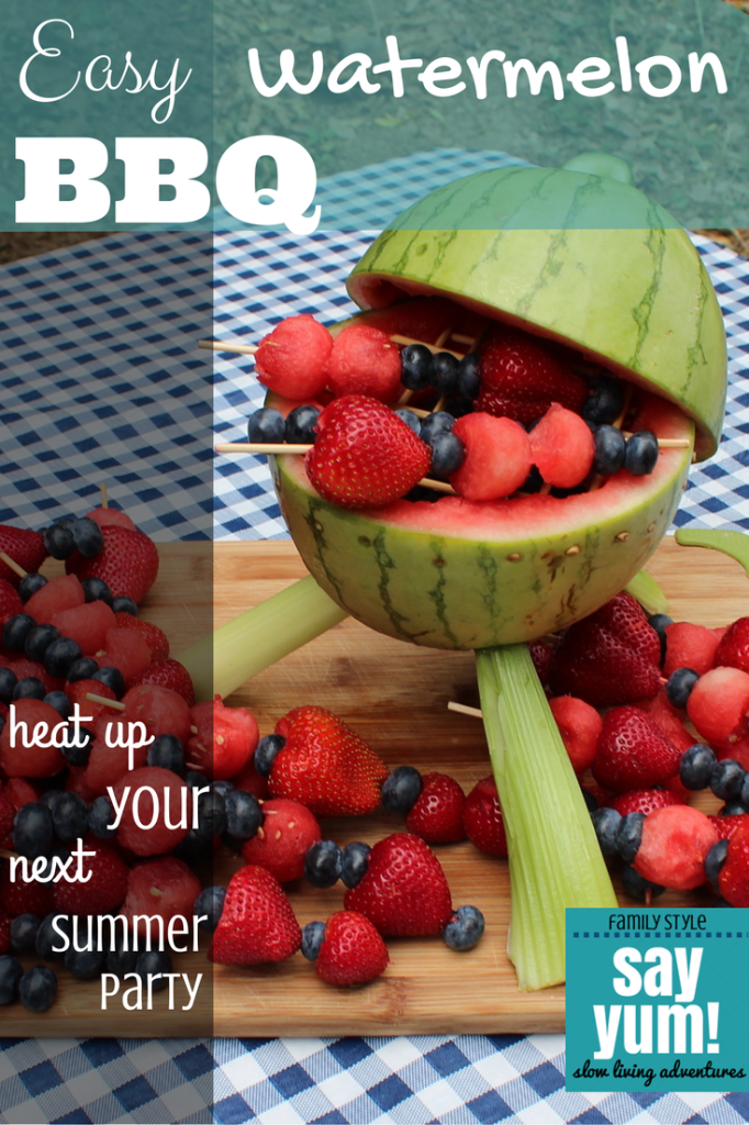 easy watermelon bbq centerpiece heats up your summer party using seasonal fruit + a sharp knife | pinned by sayyum.com #recipe #fruit