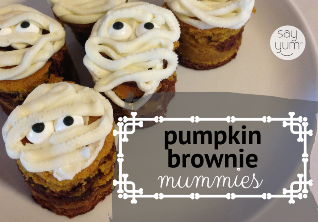 Halloween dessert mummy pumpkin swirl brownies say yum for Halloween desserts recipes with pictures