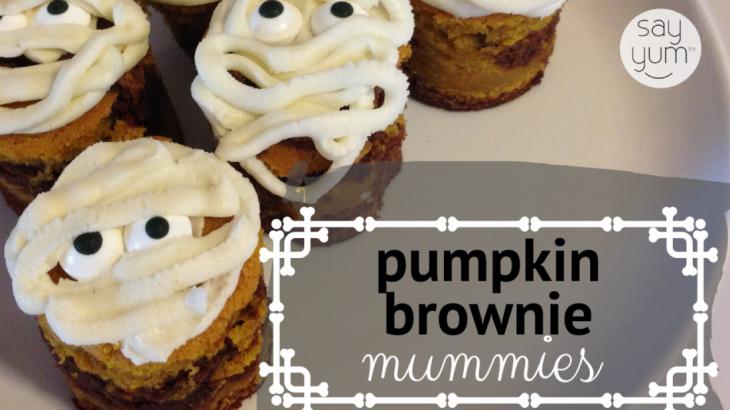 halloween brownie mummy pumpkin brownies mummies dessert recipe by say yum