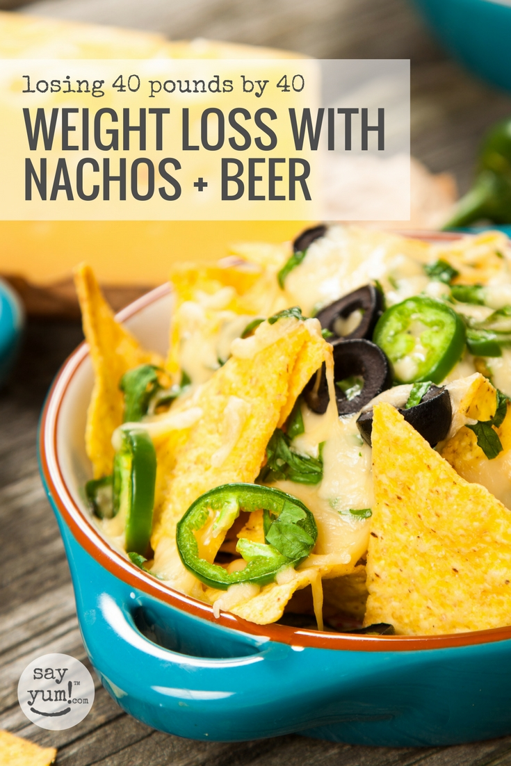 Check out one mama's experiment to lose 40 pounds by 40, in 8 months, eating nachos and drinking beer.