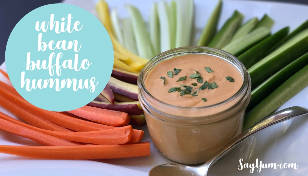 buffalo white bean hummus recipe easy healthy dip say yum